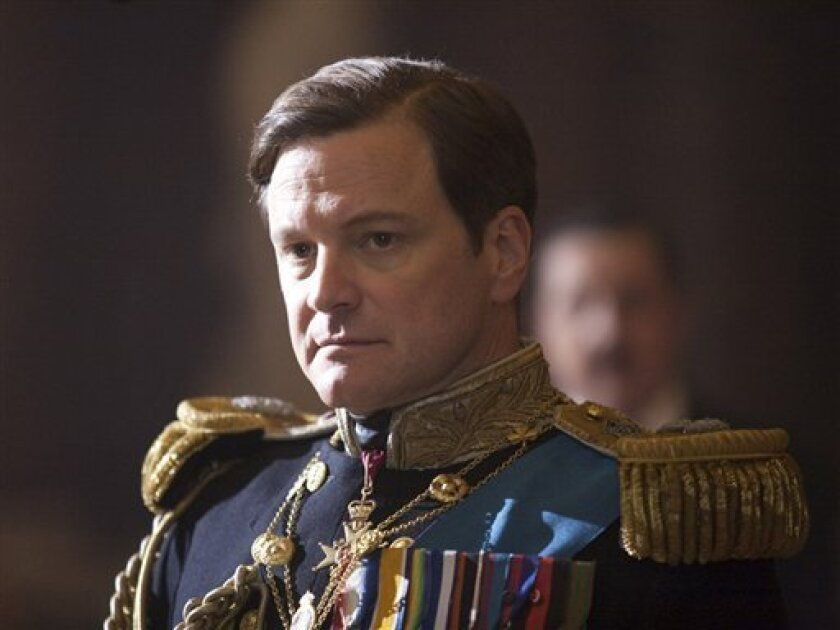 "FILE - In this file film publicity image released by The Weinstein Company, Colin Firth portrays King George VI in ""The King's Speech.""  ""The Social Network,"" a tale about the prickly founder of Facebook, and ""The King's Speech,"" a saga of Queen Elizabeth II's stammering dad, are among likely nomin"