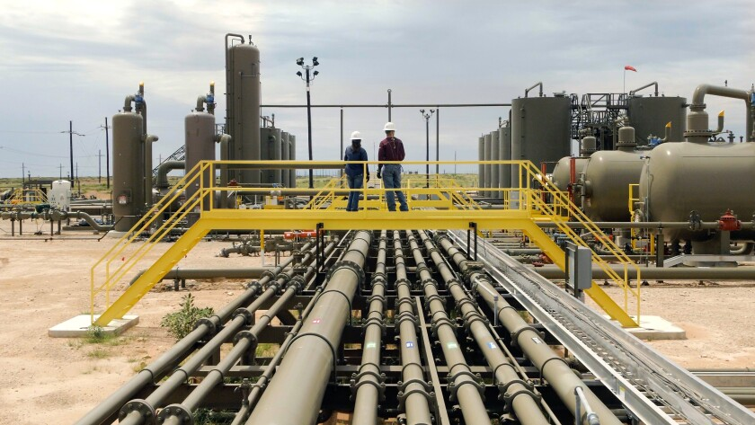 A natural gas production facility in New Mexico, part of the energy-rich oil and gas area in the Permian Basin.