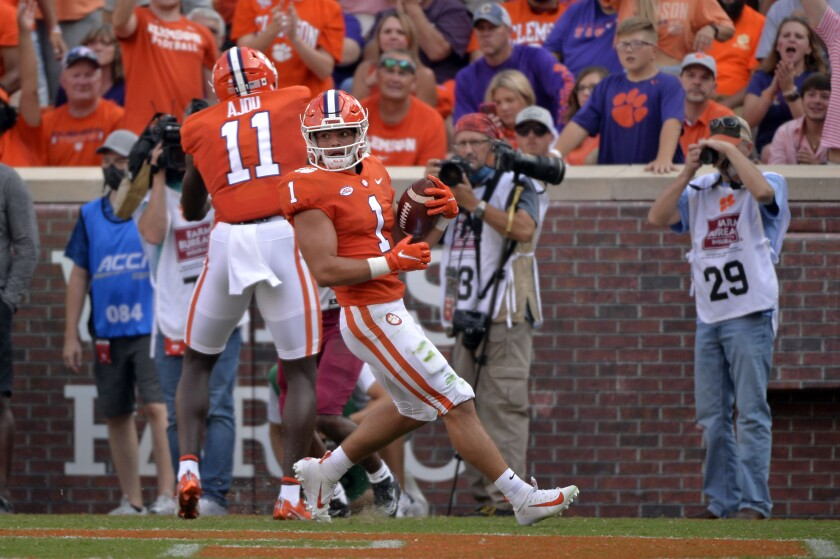 Clemson running back Will Shipley (1) scores a touchdown in the first half of an NCAA college football game against South Carolina State on Saturday, Sept. 11, 2021, in Clemson, S.C. (AP Photo/Edward M. Pio Roda)