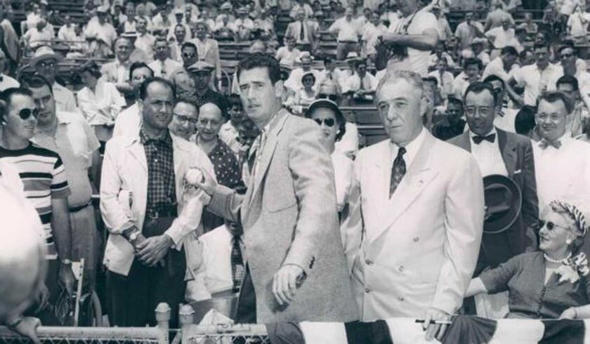 Ted Williams throws out the ceremonial first pitch before the 1953 All-Star Game in Cincinnati.