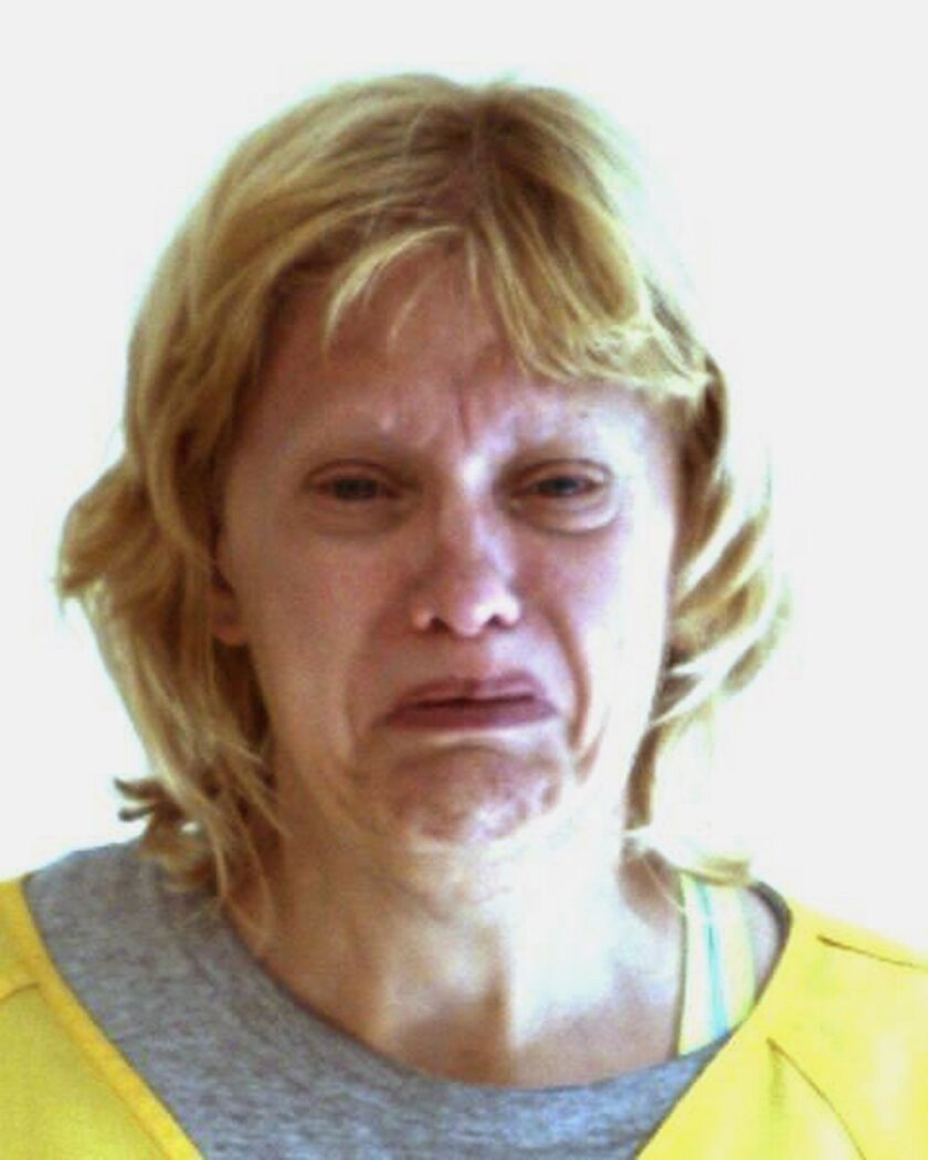 This undated photo provided by the Centre County Correctional Facility shows Bonnie Treaster. Police say Treaster was arraigned Tuesday, May 19, 2015, on aggravated and simple assault charges stemming from an attack on her 82-year-old boyfriend with a hacksaw and model airplane. (Centre County Correctional Facility via AP)