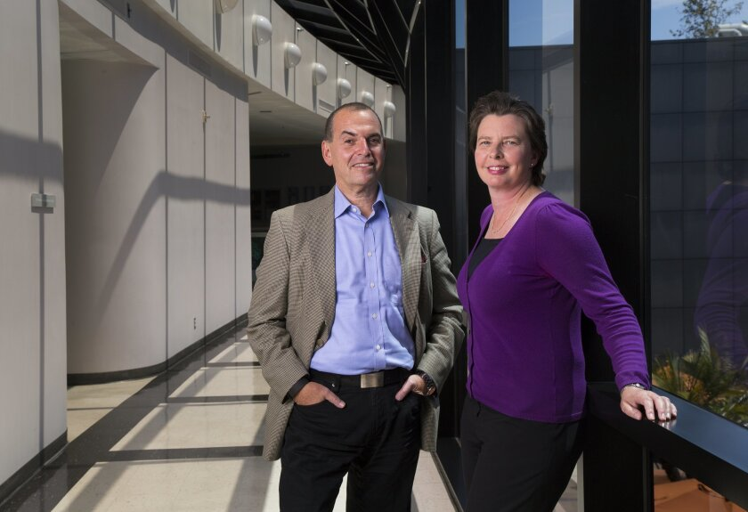 The Sanford Burnham Prebys Medical Discovery Institute is led by Chief Executive Officer Perry Nisen (left) and President Kristiina Vuori. They were photographed on Aug. 2 at the institute's main campus in La Jolla.
