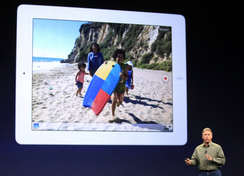Phil Schiller, Apple's senior vice president of worldwide marketing, talks about the new iPad during an event in San Francisco on Wednesday.