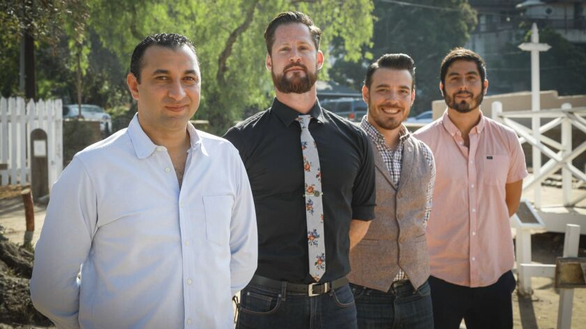 The team behind Tahona mezcal tasting room, open this fall in Old Town San Diego, from left, Amar Harrag, Blair Marano, Carlo Bracci Devoti and Steven Sadri. Tahona is one of several new local restaurants and bars that specialize in tequila and mezcal drinks.