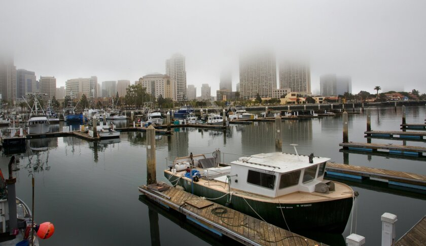Downtown San Diego covered in fog.