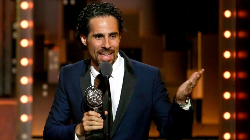 """""""Hamilton"""" music director Alex Lacamoire, photographed in June accepting his third Tony Award, this time for """"Dear Evan Hansen."""""""