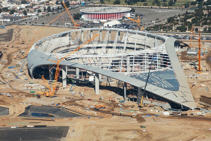 Aerial view taken in October 2019 of SoFi Stadium in Inglewood, future home of the Rams and Chargers.