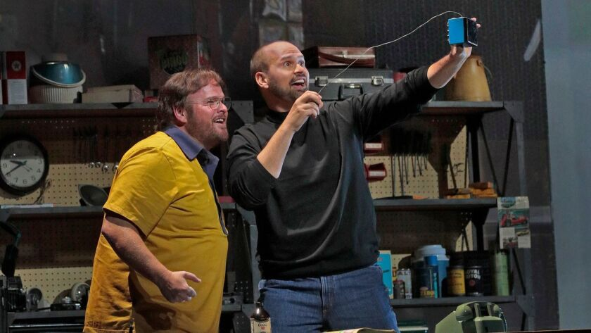 """The Santa Fe Opera's recording of composer Mason Bates' """"The (R)Evolution of Steve Jobs,"""" with Garrett Sorenson as Woz, left, and Edward Parks as Steve Jobs, picked up two nominations."""