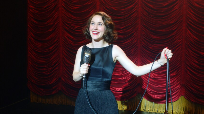 Rachel Brosnahan as Midge performing stand-up in 'The Marvelous Mrs. Maisel'