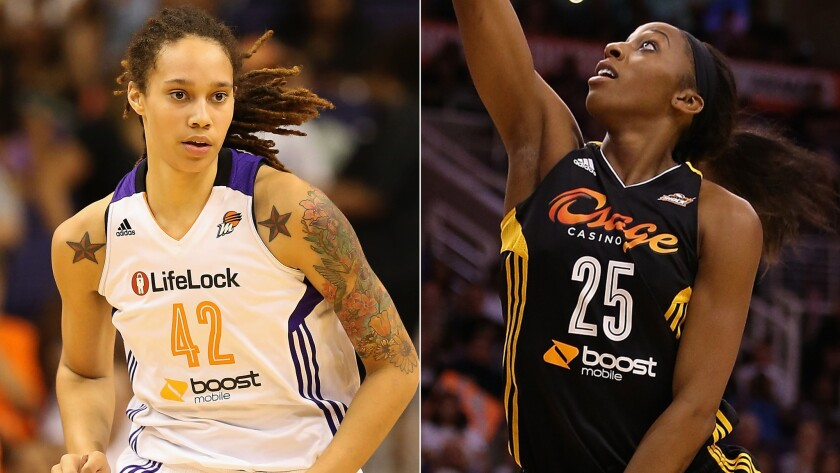 WNBA stars Brittney Griner, left, and Glory Johnson announced Friday that they are engaged.