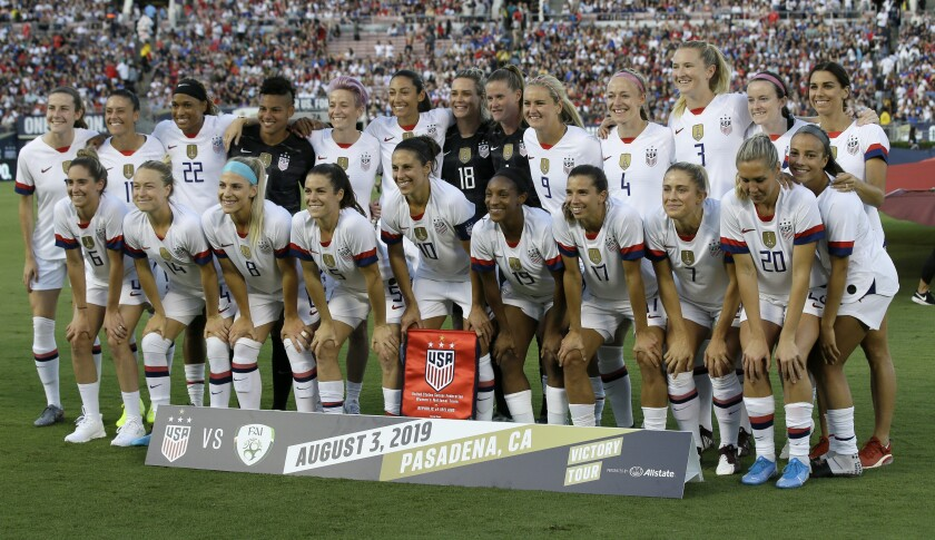 The U.S. soccer team poses for a photo before an international friendly soccer match against Ireland in Pasadena, Calif., Saturday, Aug. 3, 2019. (AP Photo/Alex Gallardo)