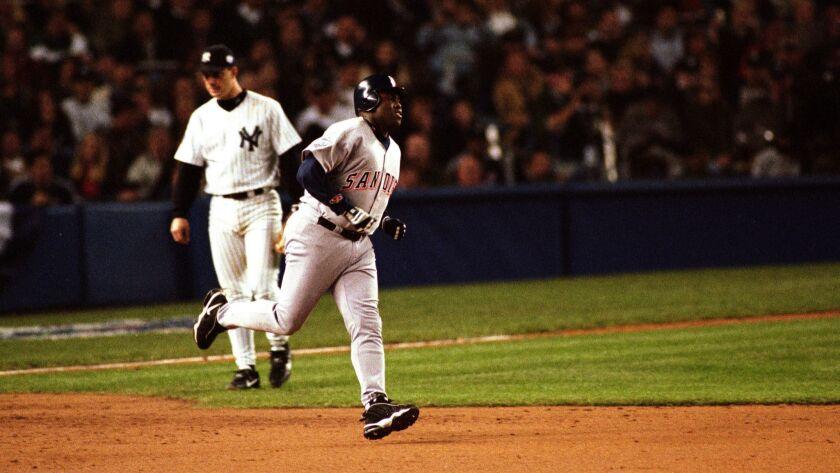 October 17, 1998_New York NY_USA_| San Diego Padre Tony Gwynn rounds the bases at Yankee Stadium aft