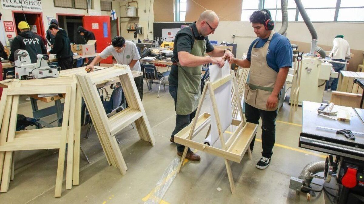 woodworking students at escondido high play santa's elves