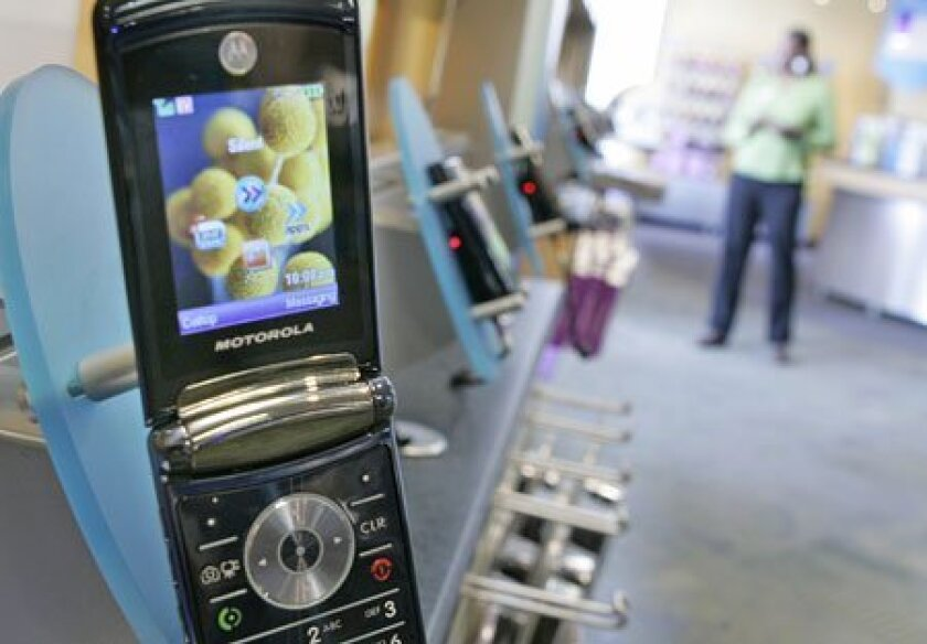 The Razr cell phone, introduced five years ago, and Razr2 (shown in July at an Alltel store in Little Rock, Ark.) have been bright spots for one-time pace-setting Motorola. Analysts question not whether it will again become dominant, but whether its handset division will survive. (AP file photo)