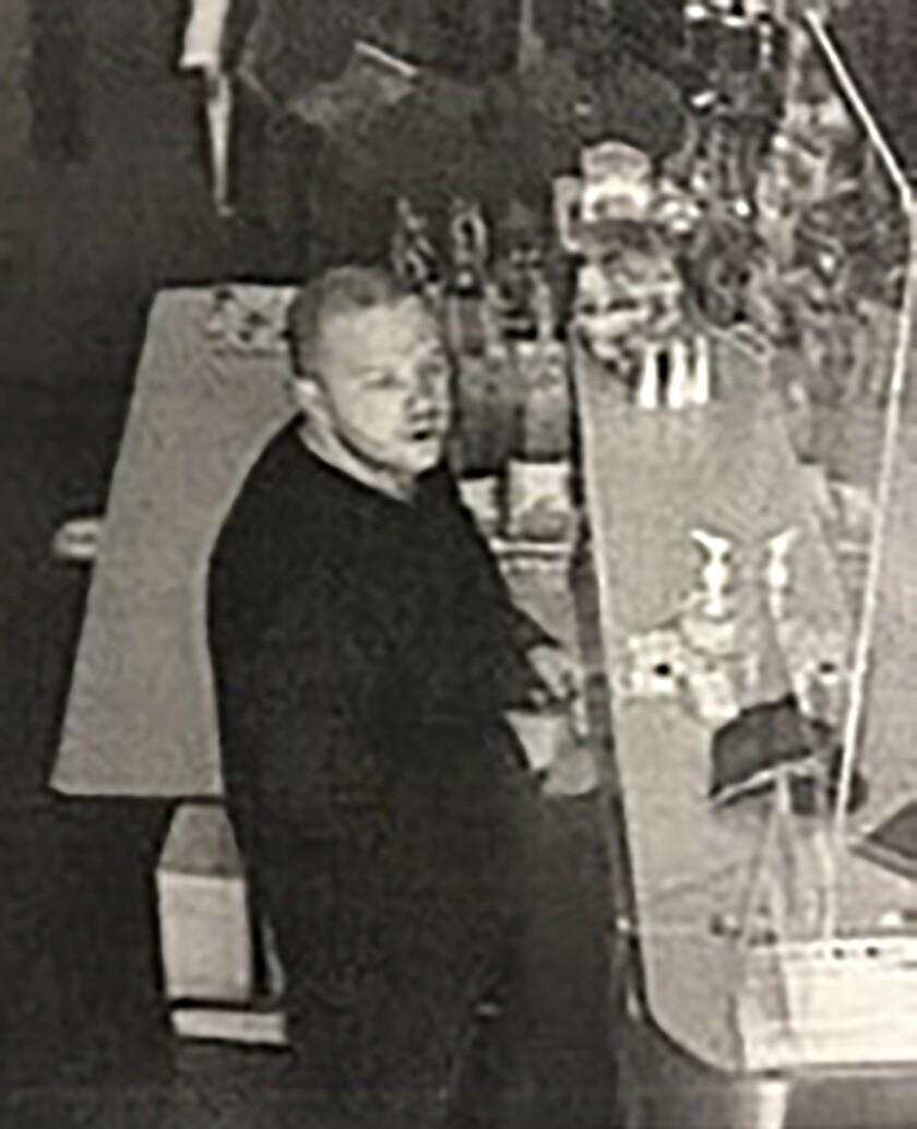 This security camera image provided by the Lane County Sheriff's Department released Friday, June 18, 2021 shows a suspect in a hit-and-run crash and shootings in the small city of Noti, in southwest Oregon that left three people dead. Authorities are seeking the publics help in finding and identifying the suspect. (Lane County Sheriff's Department via AP)