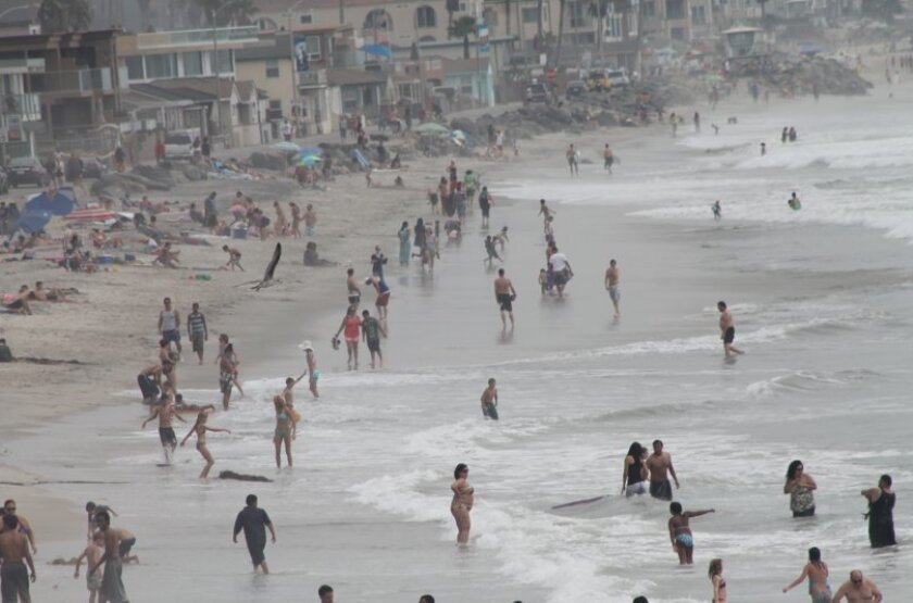 Sea surface temperatures got up to near 70 on Saturday at Oceanside.