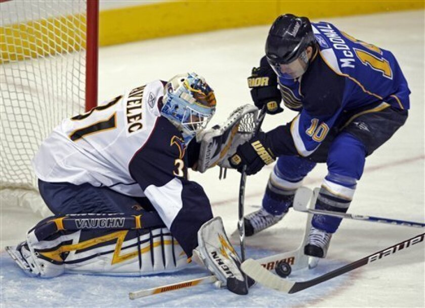 Atlanta Thrashers goalie Ondrej Pavelec, of the Czech Republic, stops a point-blank shot from St. Louis Blues' Andy McDonald in the third period of an NHL hockey game, Thursday, Oct. 8, 2009 in St. Louis. The Thrashers beat the Blues 4-2. (AP Photo/Tom Gannam)