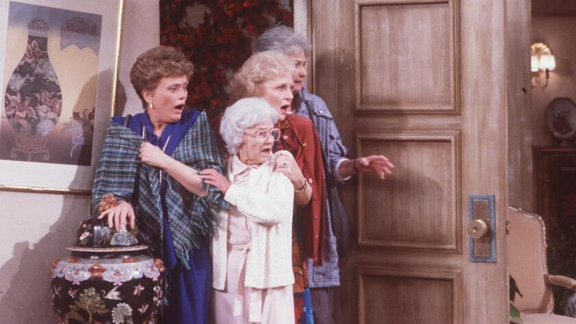 "Rue McClanahan, left, Estelle Getty, Betty White and Bea Arthur in ""Golden Girls,"" now available to stream on Hulu."