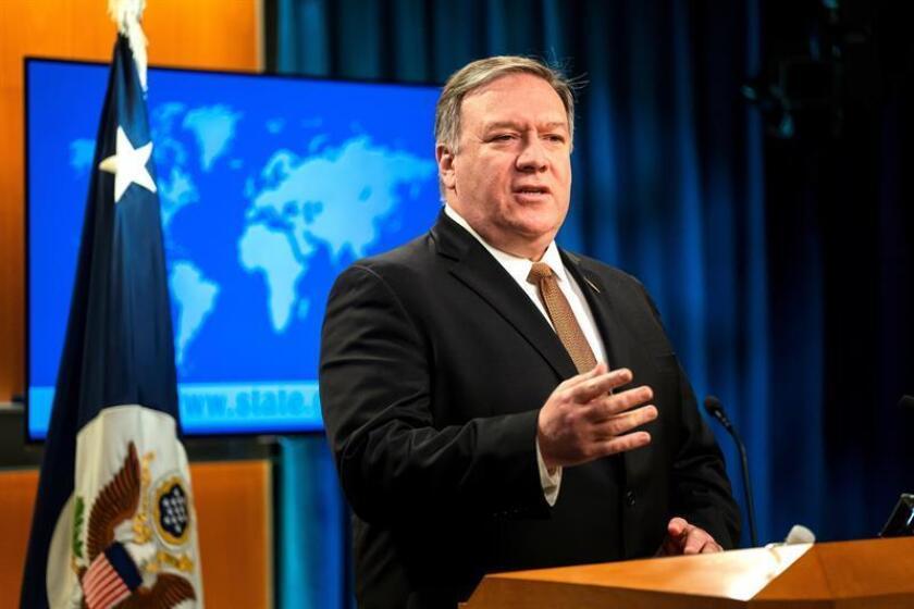 El secretario de Estado de EE.UU., Mike Pompeo, da una rueda de prensa este viernes en Washington DC (Estados Unidos) para anunciar que prohibirá los visados de entrada al país de cualquier persona de la Corte Penal Internacional (CPI) que esté implicada en la investigación de las violaciones de derechos humanos de estadounidenses en Afganistán o en otros lugares. EFE