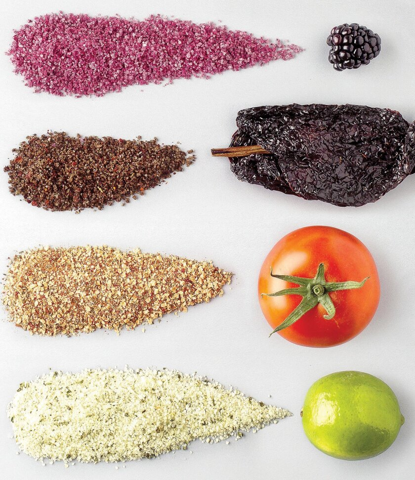 Among the Salt Farm varieties of blended salts are, from top, Blackberry, which is sea salt infused with blackberry; Catalina Offshore, smoked salt blended with ancho chili, cayenne, Aleppo, citrus and Mexican oregano;  Bruschetta, sea salt blended with tomato, basil and garlic; and Jalapeño Lime,