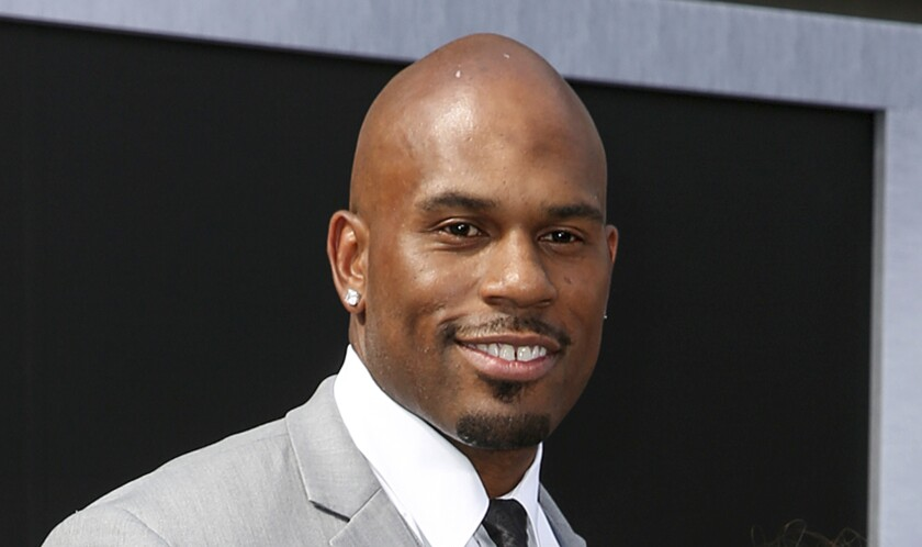 """Shad Gaspard is shown at the 2015 premiere of """"Terminator Genisys"""" in Los Angeles. His body was found Wednesday off Venice Beach."""