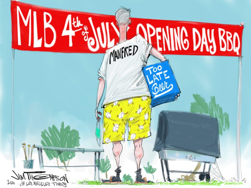 Cartoon showing too late beer for MLB opening day BBQ.