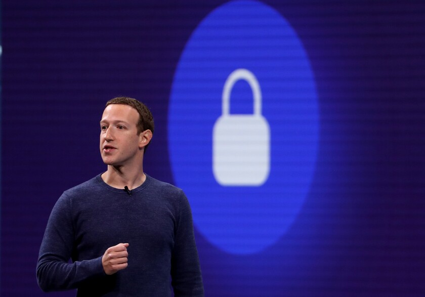 Facebook CEO Mark Zuckerberg speaks at a Facebook developers conference in May 2018.