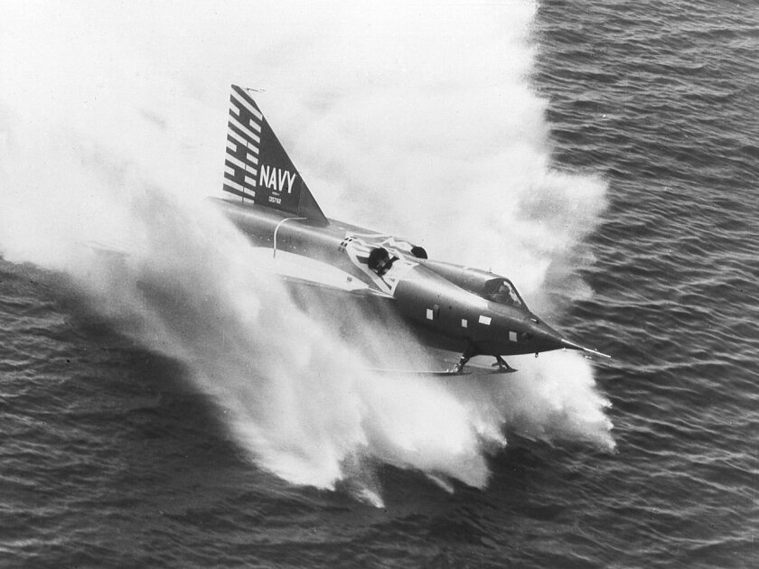 A U.S. Navy Convair built XF2Y-1 Sea Dart (BuNo 135762) during a landing. On 4 November 1954, 135762 disintegrated in mid-air over San Diego Bay, California (USA), during a demonstration for Navy officials and the press, killing Convair test pilot Charles E. Richbourg when he inadvertently exceeded