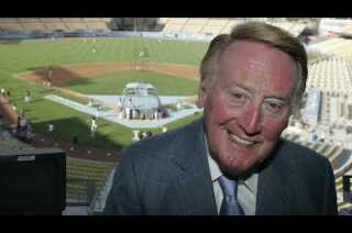Vin Scully meets with the media before calling the Dodgers game at spring training