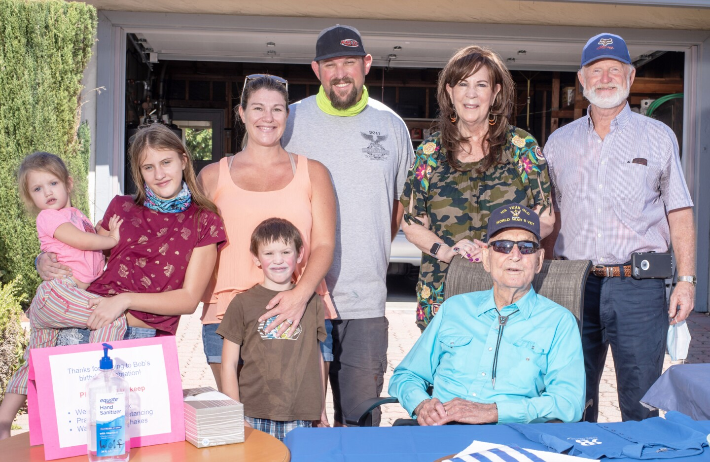 Four generations of the Brown family gathered to celebrate the 103rd birthday of Bob Brown (seated). With him are Raygen, Tayler, Ricky, Ruth Ann and Rick Frisby, and Sally and Nils Holmen.