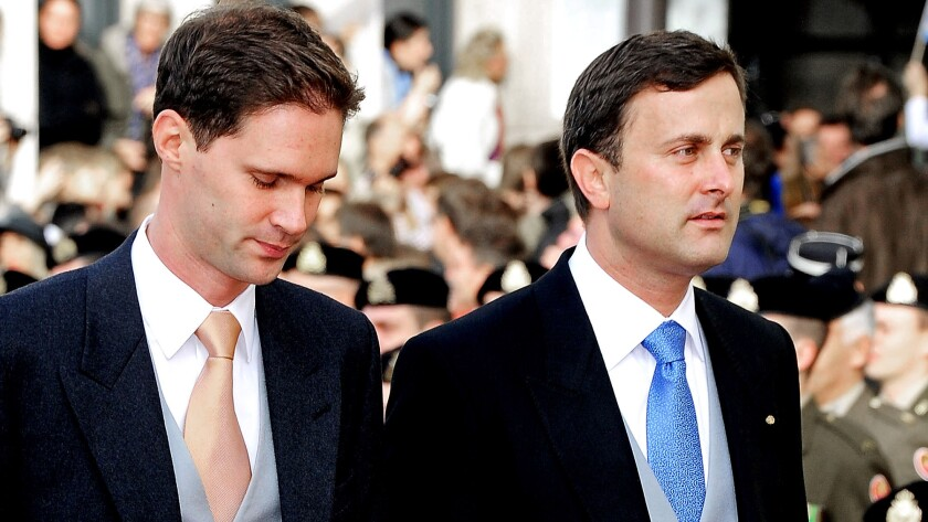 Luxembourg City Mayor Xavier Bettel, right, and partner Gauthier Destenay attend the wedding of Luxembourg's Prince Guillaume and Countess Stephanie de Lannoy of Belgium at the Cathedral of Our Lady of Luxembourg on Oct. 20, 2012.