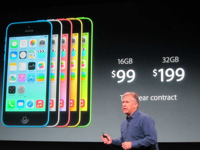 Apple's Phil Schiller discusses the iPhone 5c, which is more expensive than many analysts had hoped.