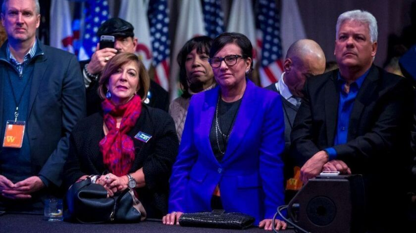 Former U.S. Commerce Secretary Penny Pritzker, second from right, is rolling out an initiative aimed at boosting Chicago's standing among the world's technology cities.