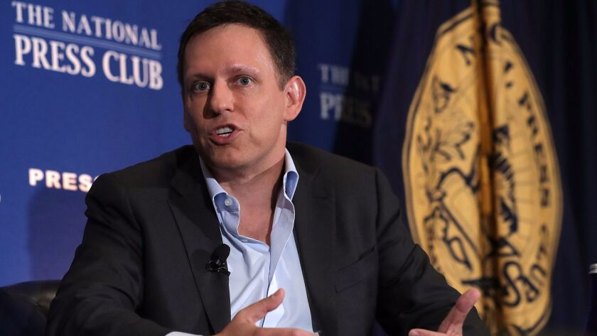 Peter Thiel discusses his support for Donald Trump on Monday in Washington.