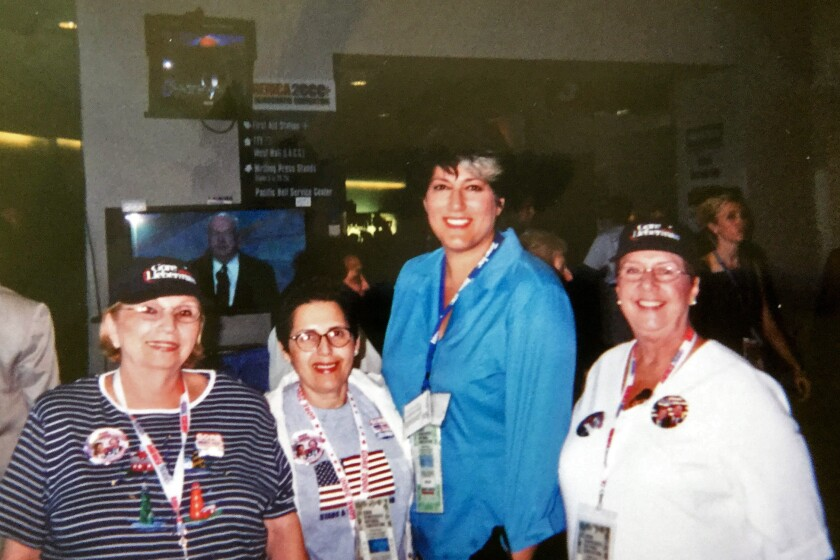 """From left, Nate 'n Al's waitresses Vikki Allen, Leon, """"Larry King Live"""" executive producer Tamara Haddad and waitress Kaye Coleman at he Democratic National Convention in L.A. in 2000."""