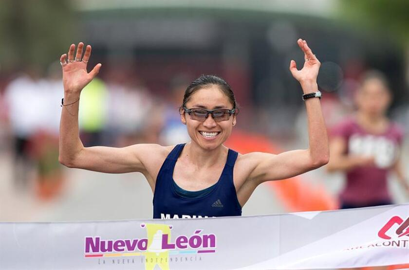 La marchista de México Guadalupe González cruza la meta en la prueba de 20 kilómetros marcha, rama femenina, segunda parada del circuito mundial de marcha. EFE/Archivo
