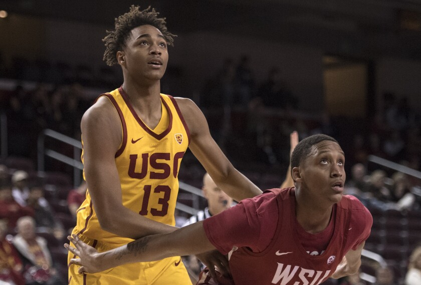 USC's Chuck O'Bannon Jr. puts up a shot during the Trojans' game against Oregon in the Pac-12 tournament in March.