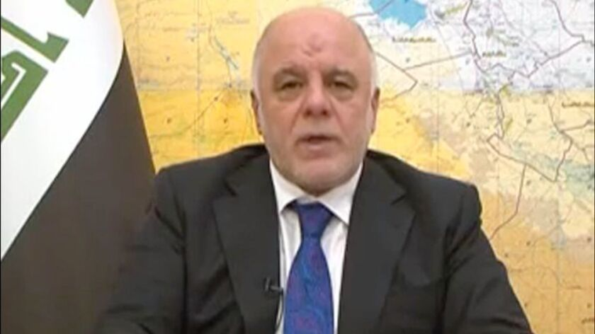 Iraqi Prime Minister Haidar Abadi, in a screen grab from a video released by his press office, announcing the launch of military operations to retake western Mosul from Islamic State on Feb. 19.