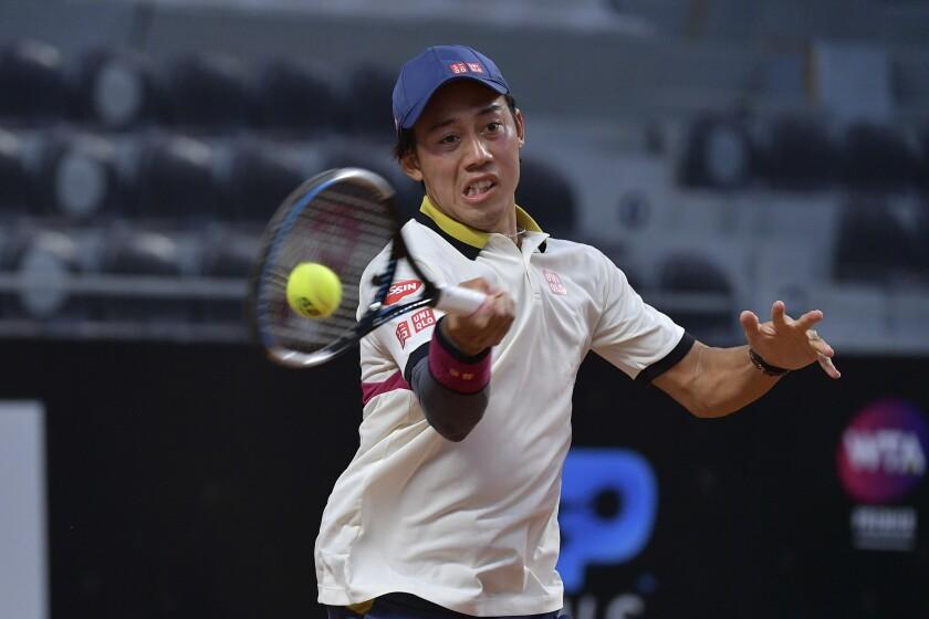 El japonés Kei Nishikori durante su partido de primera ronda en el Masters de Roma