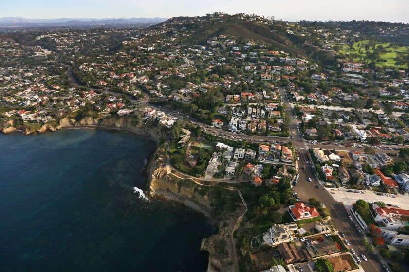 Homes overlook La Jolla Cove in La Jolla.
