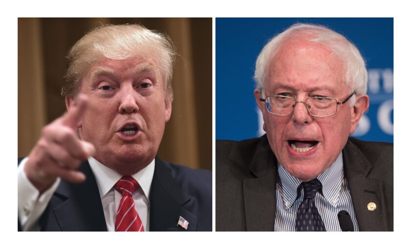 "Billionaire Republican presidential candidate Donald Trump, left, and Democratic candidate Bernie Sanders, who denounces the ""billionaire class,"" are political opposites united in their outsider status in the presidential primary races. Each is polling strongly in early-voting states."