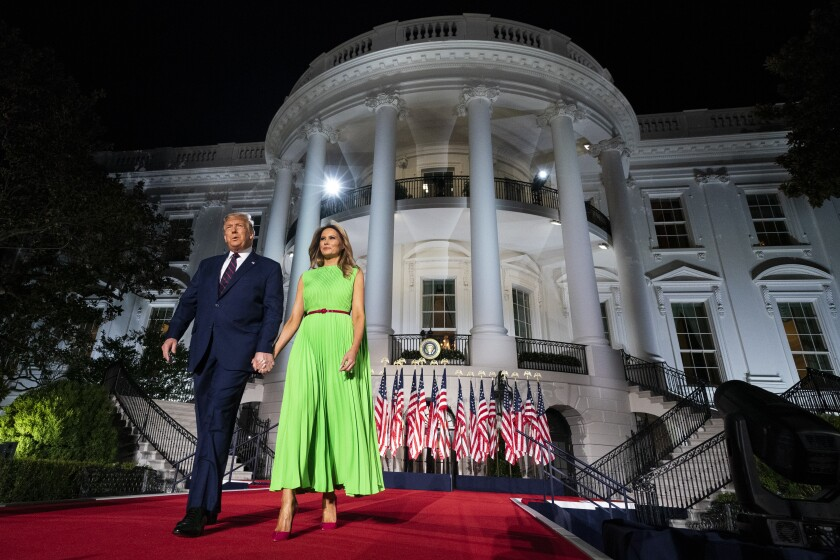President  Trump and First Lady Melania Trump arrive on the South Lawn of the White House