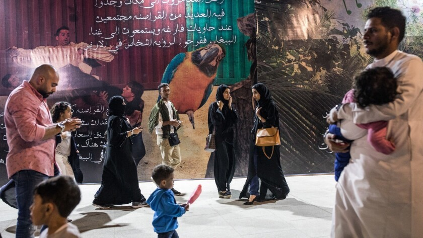 ONE TIME USE - Visitors at O'hara event, Jeddah, Saudi Arabia. Photo by Iman Al-Dabbagh for the Los