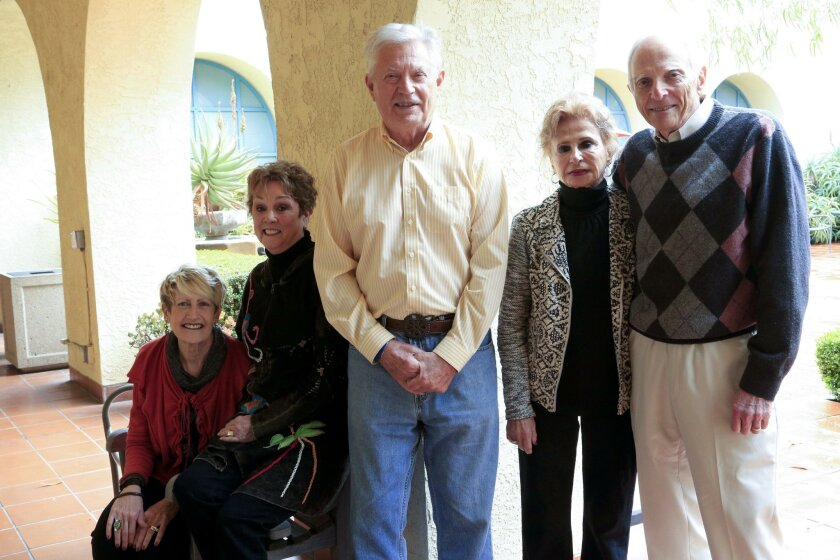 Board members for Advocates for Classical Music, which provides educational services to San Diego County schoolchildren: Mimi Lee, far left, Aveline von Ehrenberg, Richard Morgan, Nowell Bierman and Ron Bierman, at the Scripps Ranch library branch.