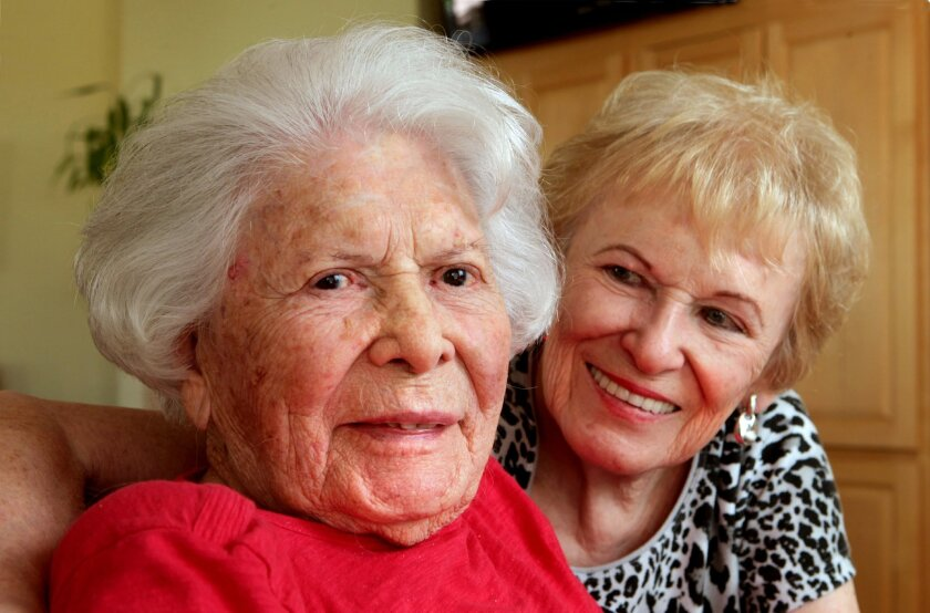 Portrait of Florence Boggs, at left, who will be 110 next month, and her daughter Joanne Oswald, at right, at their home in Carlsbad.