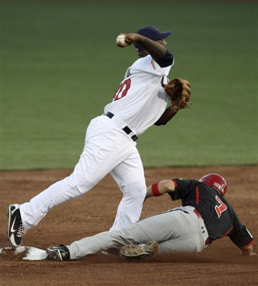 United States second baseman Joseph Thurston, left, throws to first after forcing out Canada's Skyler Stromsmoe during the first inning of the final baseball game at the Pan American Games in Lagos de Moreno, Mexico, Tuesday Oct. 25, 2011. (AP Photo/Javier Galeano)