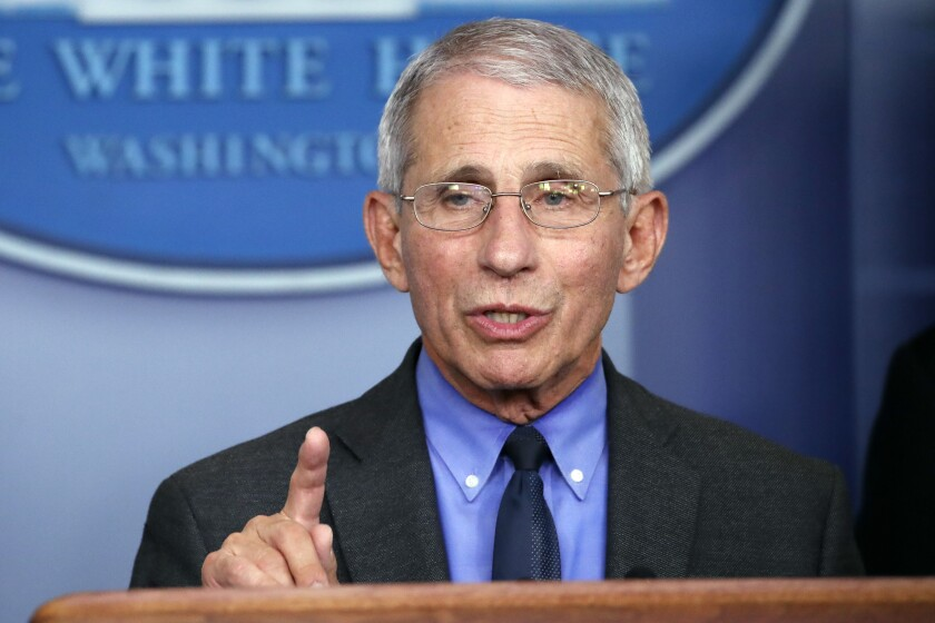 Dr. Anthony Fauci speaks about the coronavirus in Washington on April 7, 2020.