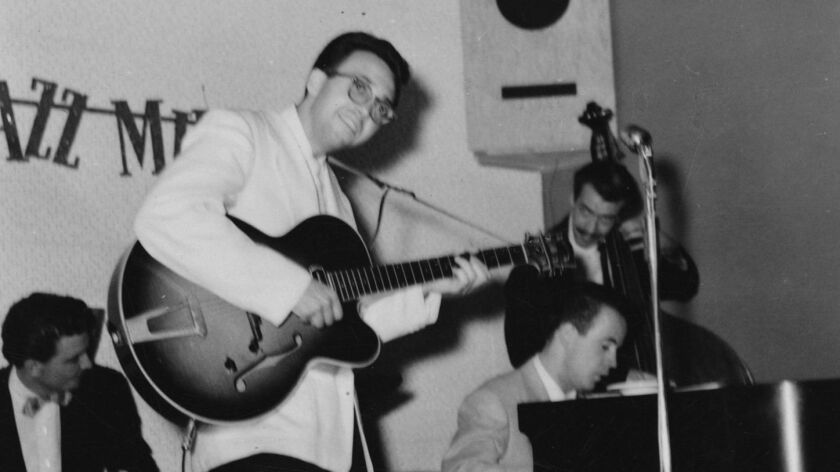 Guitar great Barney Kessel is shown with the Phoenix trio The Jazz Millers at the 1953 Arizona club date where his posthumously released new live album was recorded.