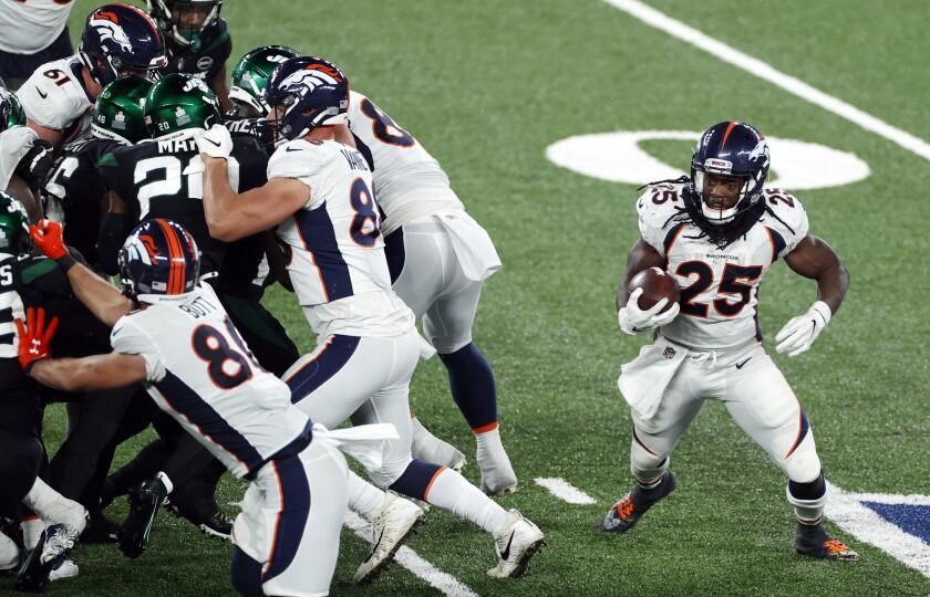 Denver Broncos running back Melvin Gordon in action against the New York Jets.