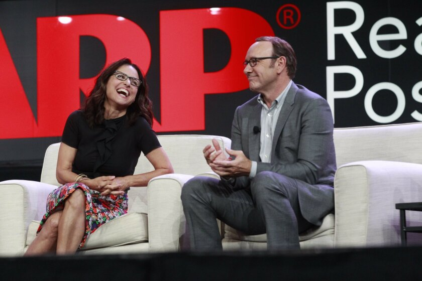 Actors Julia Louis-Dreyfus and Kevin Spacey shared wit and wisdom at the AARP Life@50+ expo at the San Diego Convention Center.